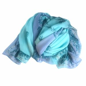 VINTAGE Extra Long Sheer Chiffon Blue Floral Scarf